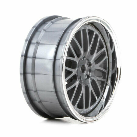Vaterra; Wheel Front Deep Mesh 54X26Mm Chrome & Silver (2)