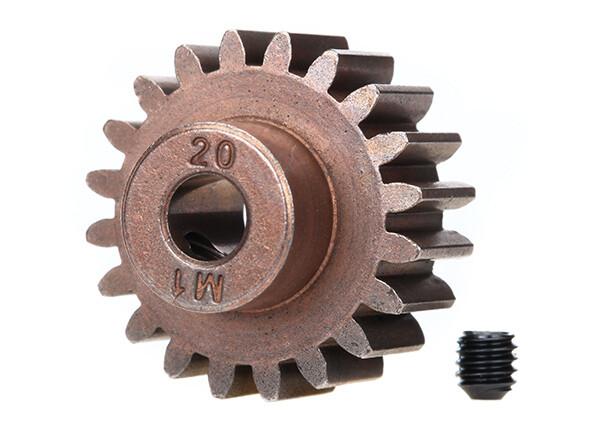 Traxxas; Steel Mod 1.0 Pinion Gear W/5Mm Bore (20T) (Compatible With Steel Spur Gears)