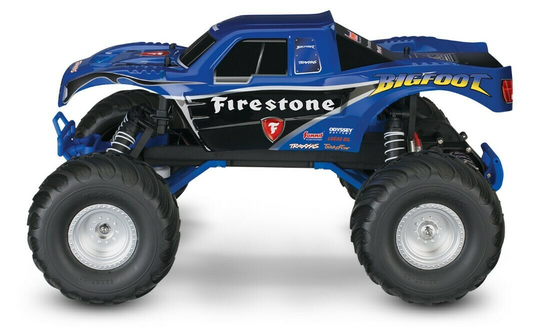 Traxxas; Bigfoot Firestone 1/10 Scale 2WD Monster Truck - Blue, XL-5 brushed esc with Titan 12t motor, with 7 cell NiHM battery and 4A DC charger