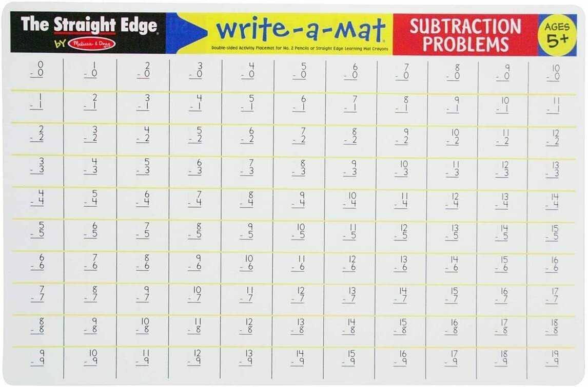 Melissa And Doug; Subtraction Problems Write-A-Mat