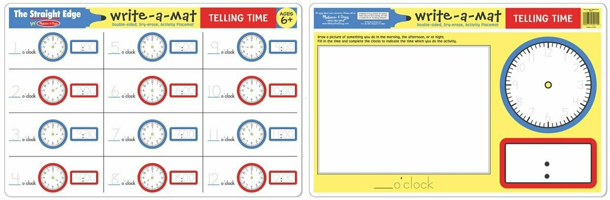 Melissa And Doug; Telling Time Write-A-Mat
