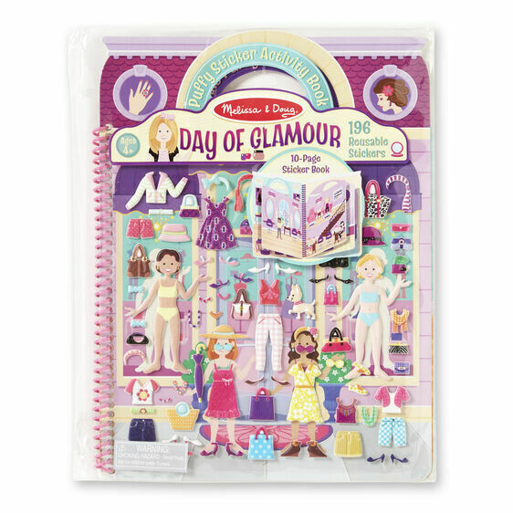 Melissa And Doug; Deluxe Puffy Sticker Album - Day Of Glamour