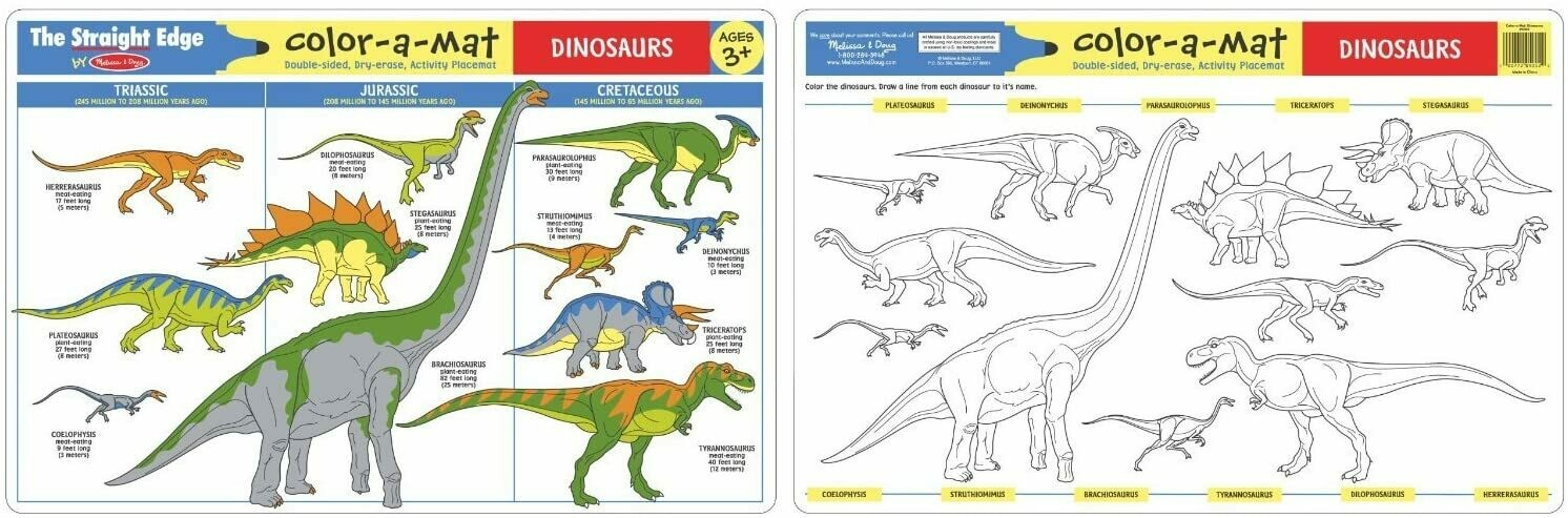 Melissa And Doug; Dinosaurs Color-A-Mat