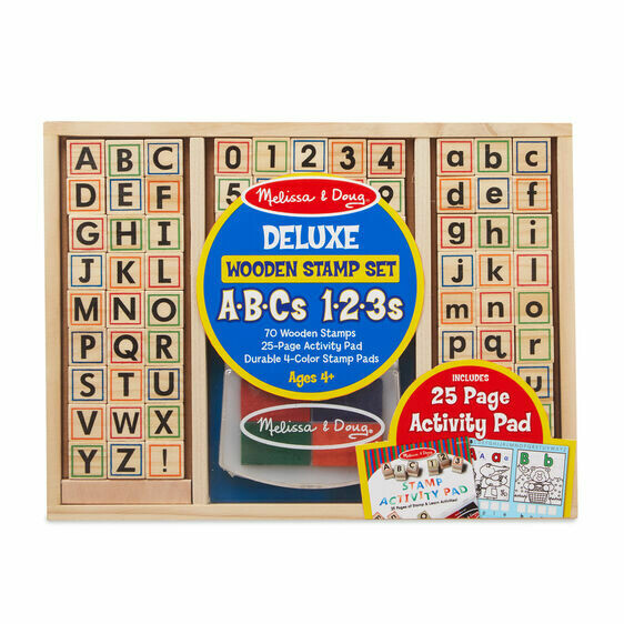 Melissa And Doug; Deluxe Wooden Stamp Set - Abc 123