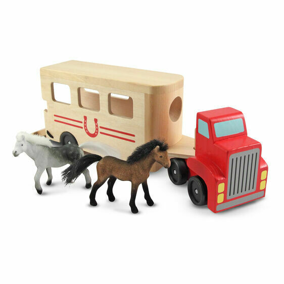 Melissa And Doug; Horse Carrier Wooden Vehicles Play Set