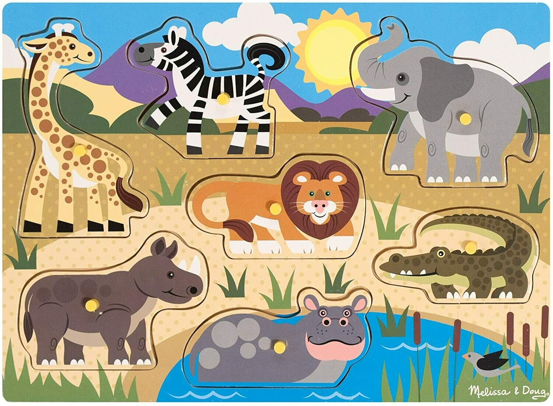 Melissa And Doug; Wooden Peg Puzzle - Safari
