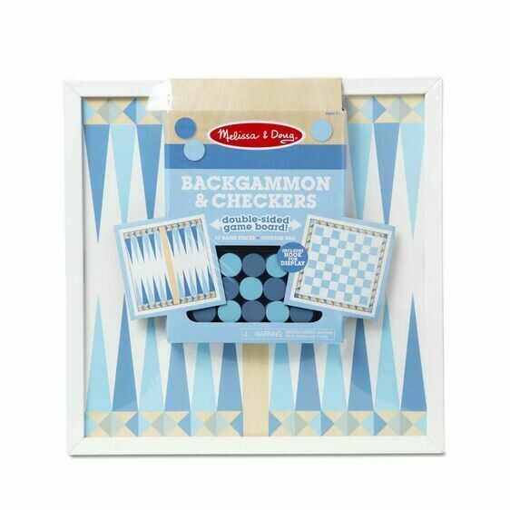 Melissa And Doug; Wooden Backgammon & Checkers - Blue