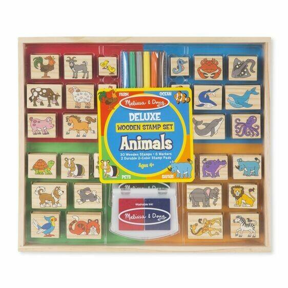 Melissa And Doug; Deluxe Wooden Stamp Set - Animals