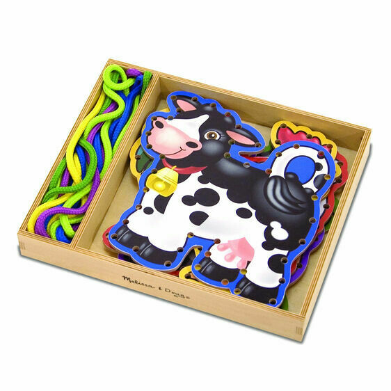Melissa And Doug; Wooden Panels & Laces - Farm Animals