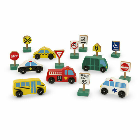 Melissa And Doug; Wooden Vehicles And Traffic Signs