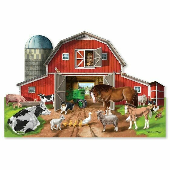 Melissa And Doug; Busy Barn Shaped Floor Puzzle (32 Pieces)
