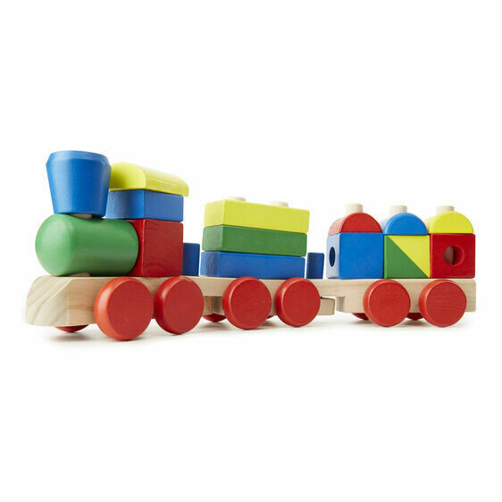 Melissa And Doug; Wooden Jumbo Stacking Train Primary Colours