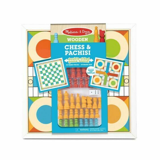 Melissa And Doug; Wooden Chess & Parchisi