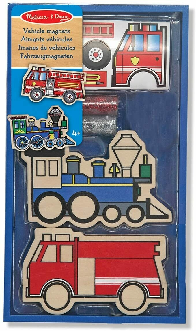 Melissa And Doug; Wooden Vehicles Magnets