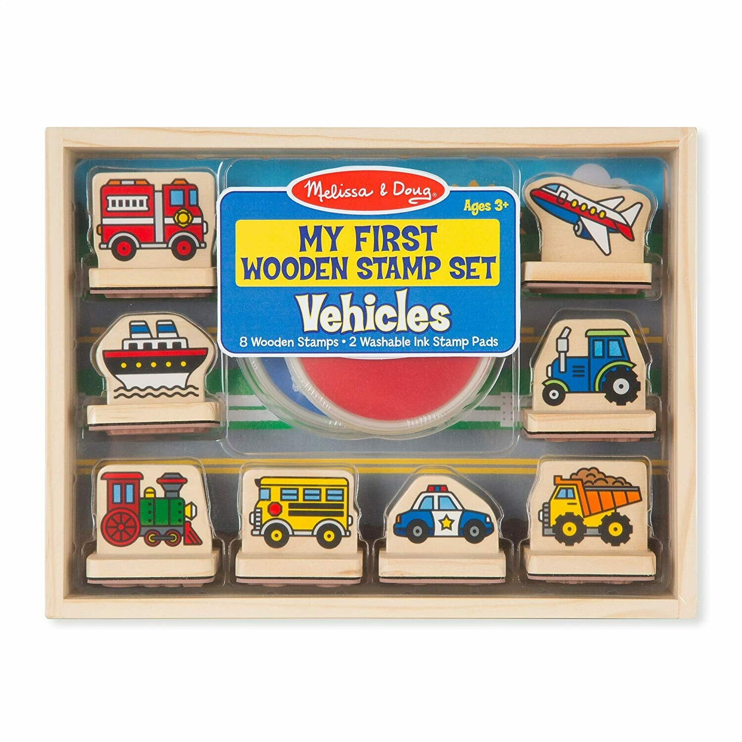 Melissa And Doug; My First Wooden Stamp Set - Vehicles