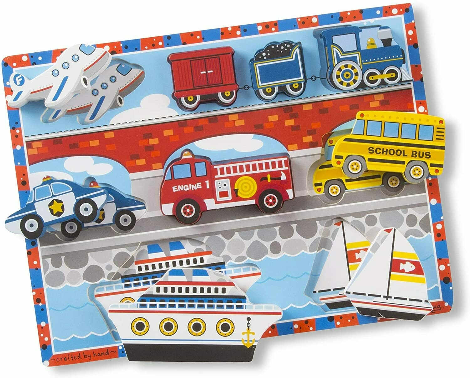 Melissa And Doug; Vehicles Chunky Puzzle