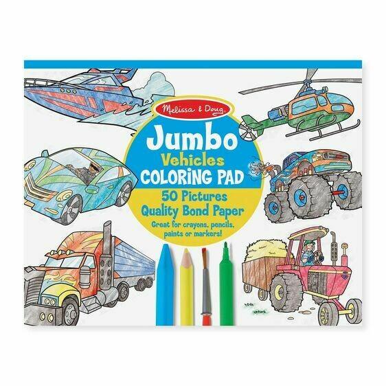 Melissa And Doug; Jumbo Colouring Pad - Vehicles
