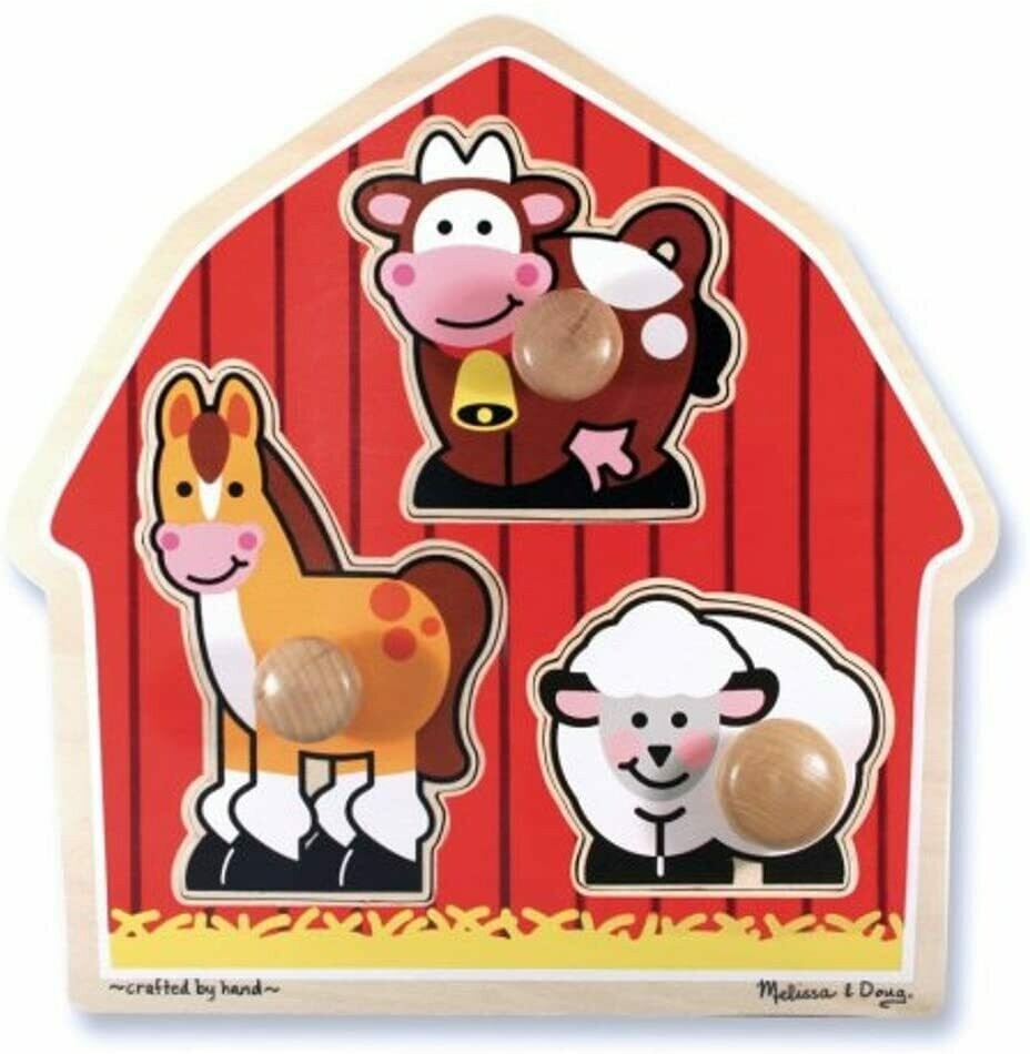 Melissa And Doug; Barnyard Animals Large Peg Puzzle