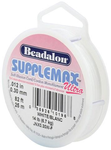 Beadalon; SuppleMax Ultra Stringing Cord, .30mm - White 132 ft.