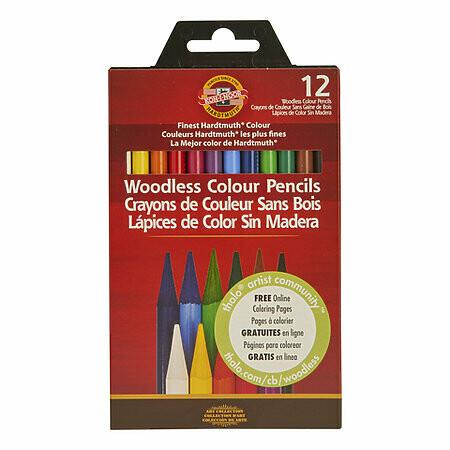 Chartpak; Progresso Woodless Colored Pencil Sets, 12-Color Set
