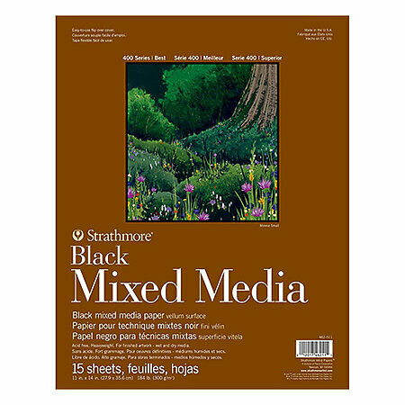 Strathmore; Mixed Media Black 400 11X14 Tape-Bound Sketchbook 15 Sheets