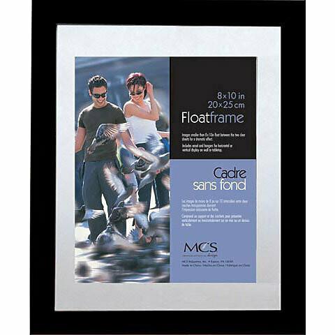 """Mcs; Wood Float Frames, 8"""" x 10"""" - 5"""" x 7"""" Inner Frame, Black - Wood Moulding"""