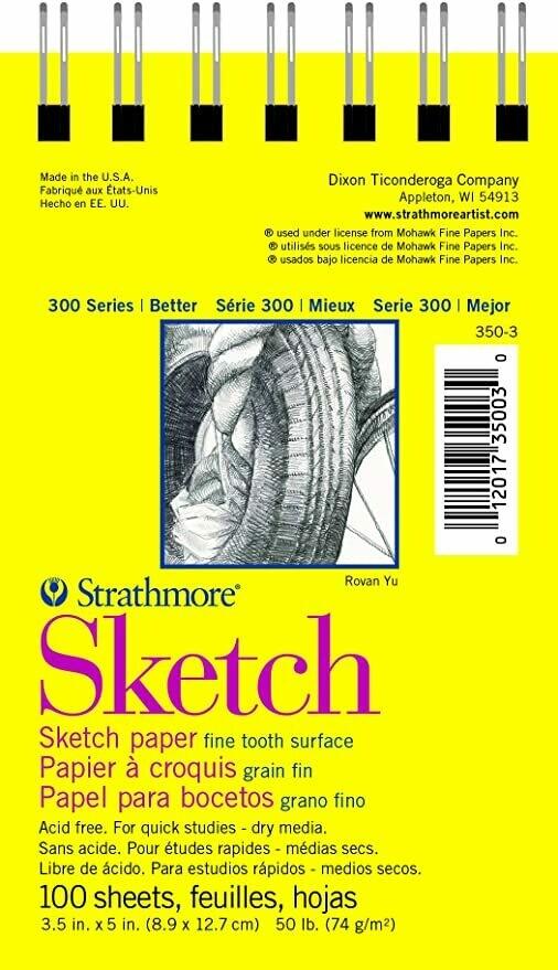 Strathmore; Sketch 300 3.5X5 Sprial Bound Sketchbook 100 Sheets