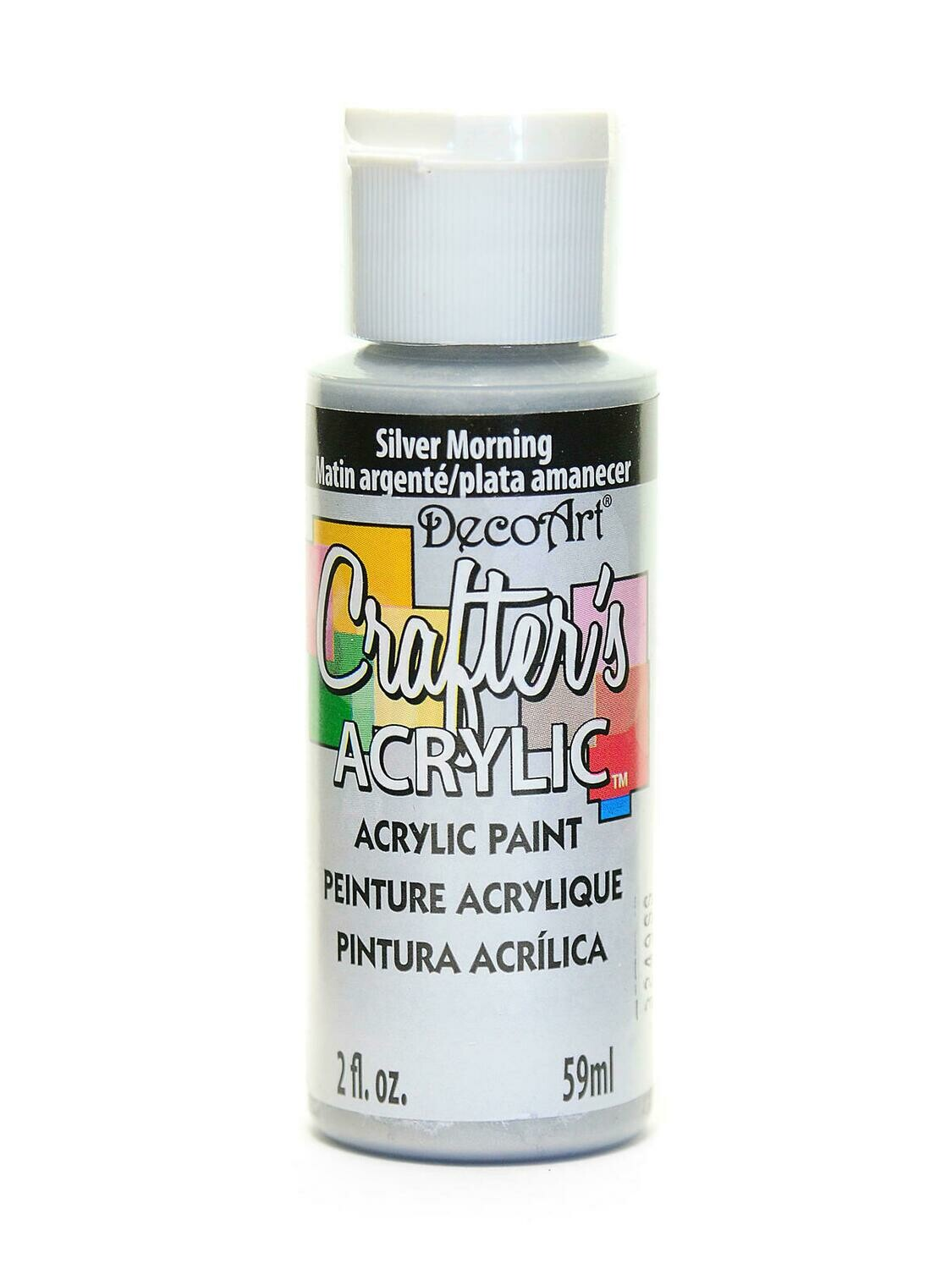 Decoart; Crafter's Acrylic Paint, 2 Oz. Bottles, Silver Morning