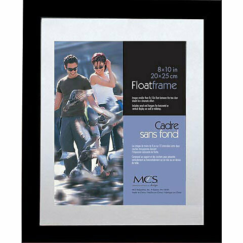 "Mcs; Wood Float Frames, 11"" x 14"" - 8"" x 10"" Inner Frame, Black - Wood Moulding"