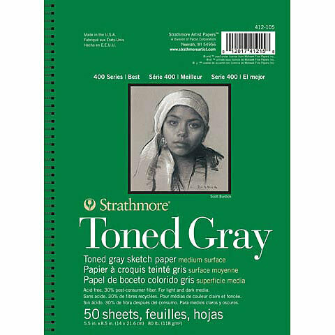 """Strathmore; Toned Sketch Paper Pads 400 Series, 9"""" x 12"""" - Gray (Cool), 50 Shts./Pd."""