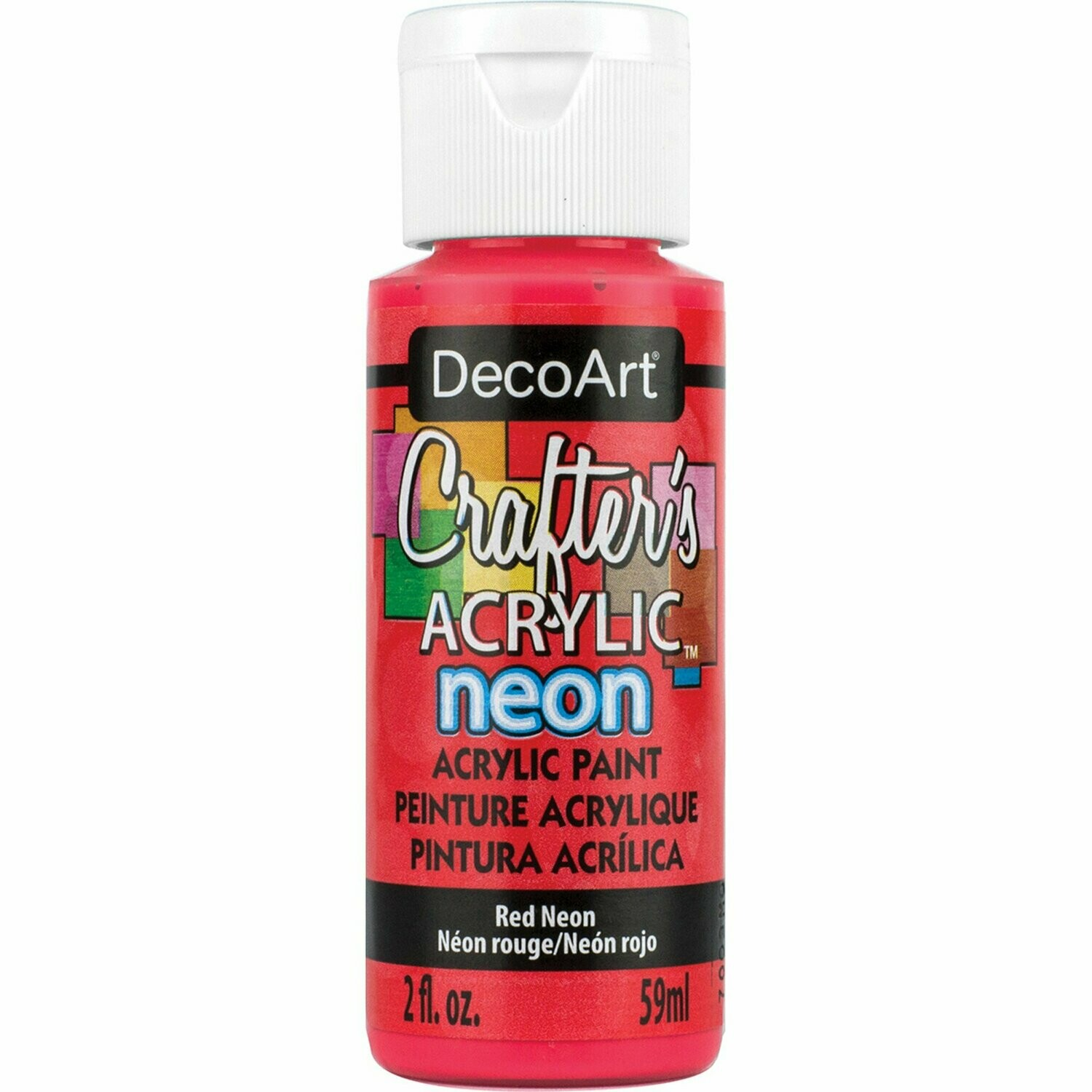 Decoart; Crafter's Acrylic Paint, 2 Oz. Bottles, Neon Red