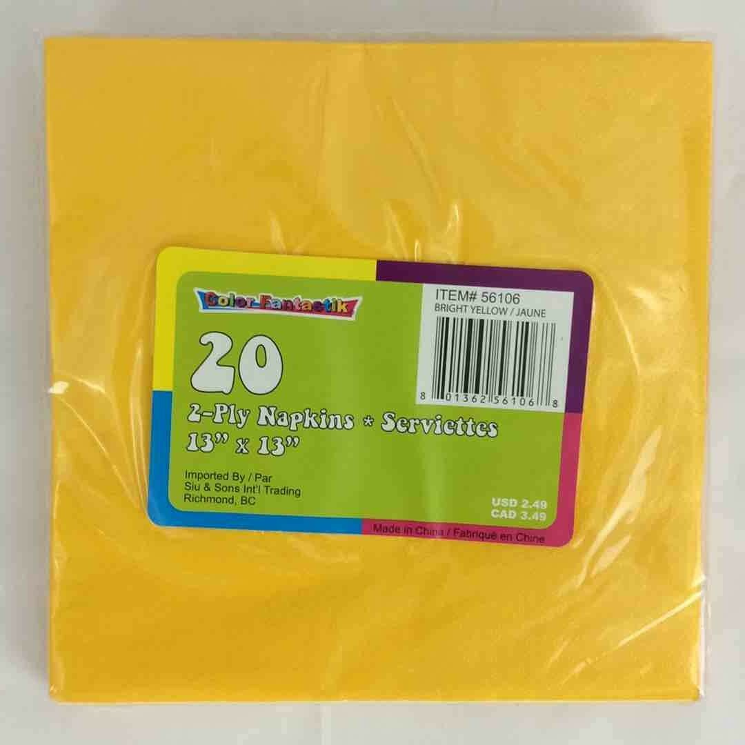 Color Fantastik; 40/Pk 2Ply Luncheon Napkins, Bright Yellow