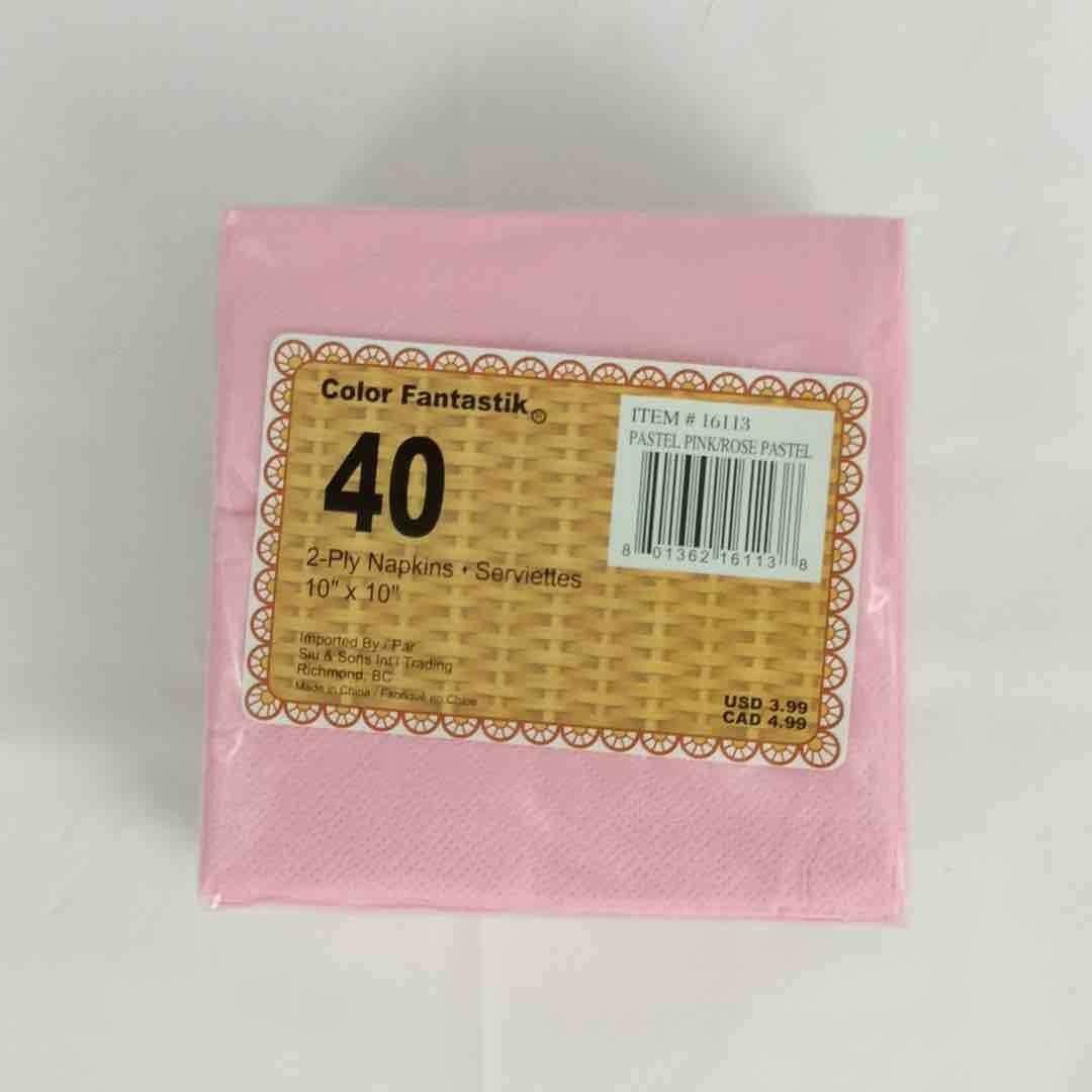 Color Fantastik; 40/Pk 2Ply Beverage Napkins, Pastel Pink