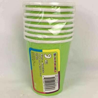 Color Fantastik; +8Ct 9Oz Paper Cups, Apple Green