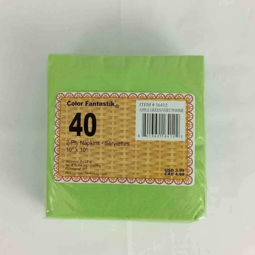 Color Fantastik; 40Ct 2Ply Beverage Napkins, Apple Green