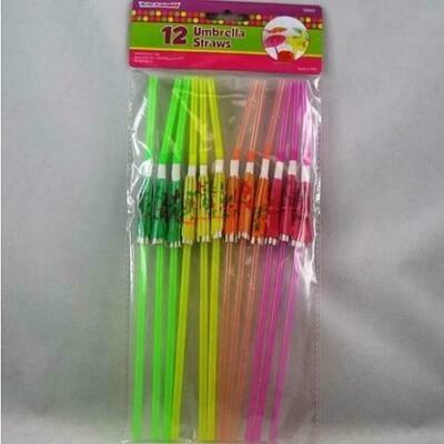 Color Fantastic; 12Ct Umbrella Straws, Asst