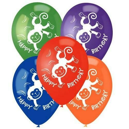 Color Fantastic; 10Ct 2Sides Printed Party Baloons, Monkey