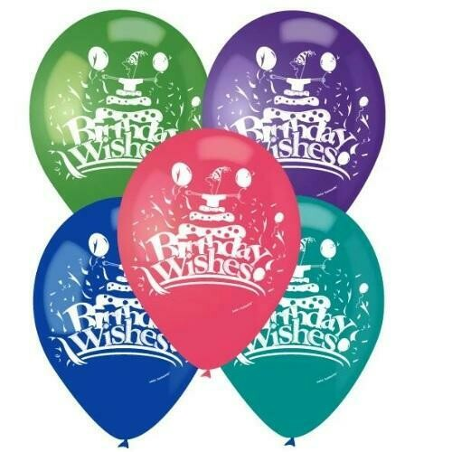 """Color Fantastic; 10Ct 12"""" 2Sides Printed Balloons, Birthday Wishes"""