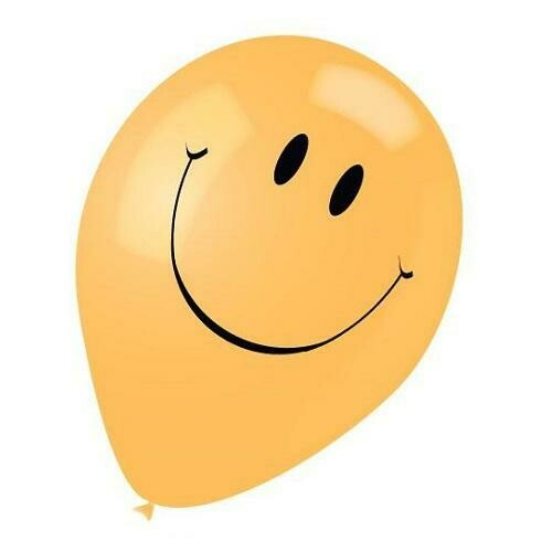 "Color Fantastic; 10Ct 12"" 2Sides Printed Balloons, Happy Face"