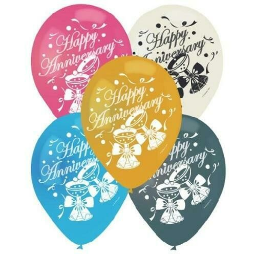 """Color Fantastic; 10Ct 12"""" 2Sides Printed Balloons,Happy Anniversary"""