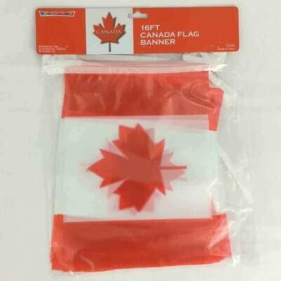 Color Fantastic; 16Ft 15Pc Canada Flag Plastic Banner