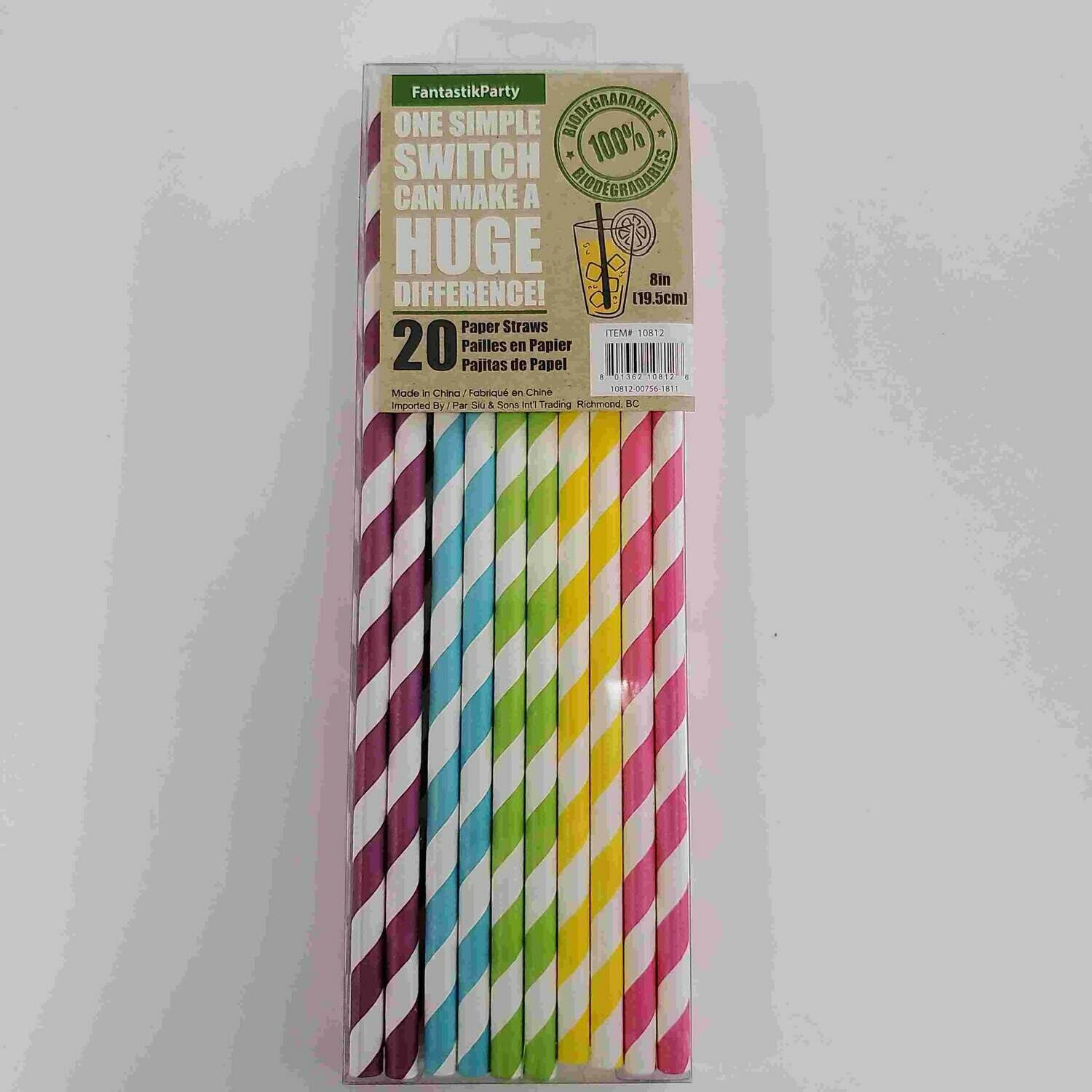 Color Fantastic; 20Ct 20Cm Party Paper Straws, Rainbow