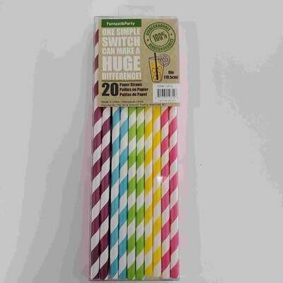 Color Fantastic; 20Ct 20Cm Party Paper Straws, Rainbow