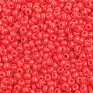 John Bead; Czech Seed Bead 10/0 Opaque Medium Red Strung