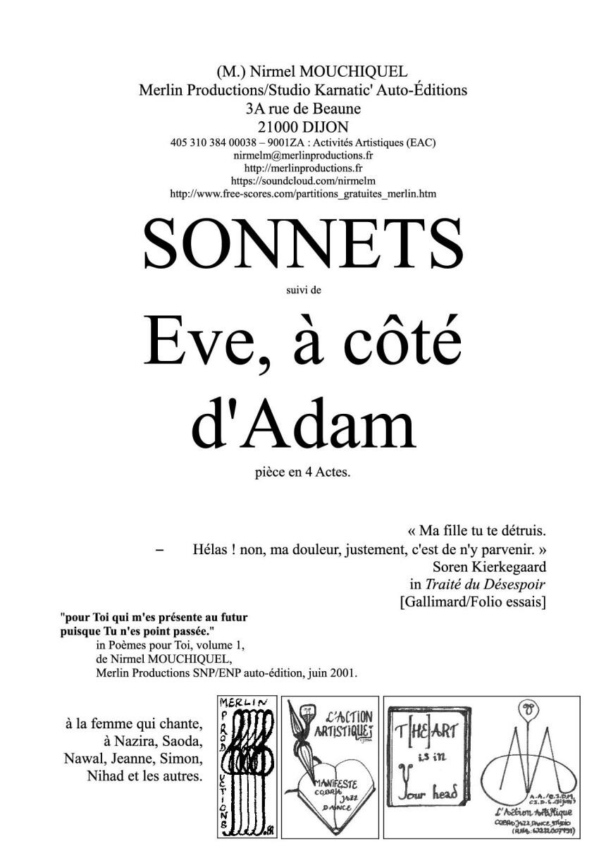 Sonnets suivi de Eve, à côté d'Adam