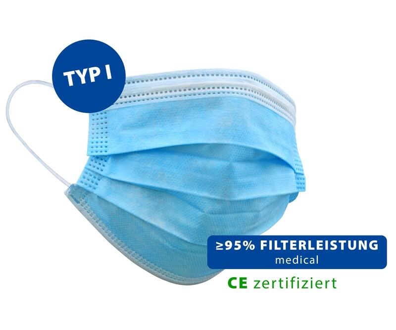 Masques de protection hygiéniques 3 plis - lot de 50
