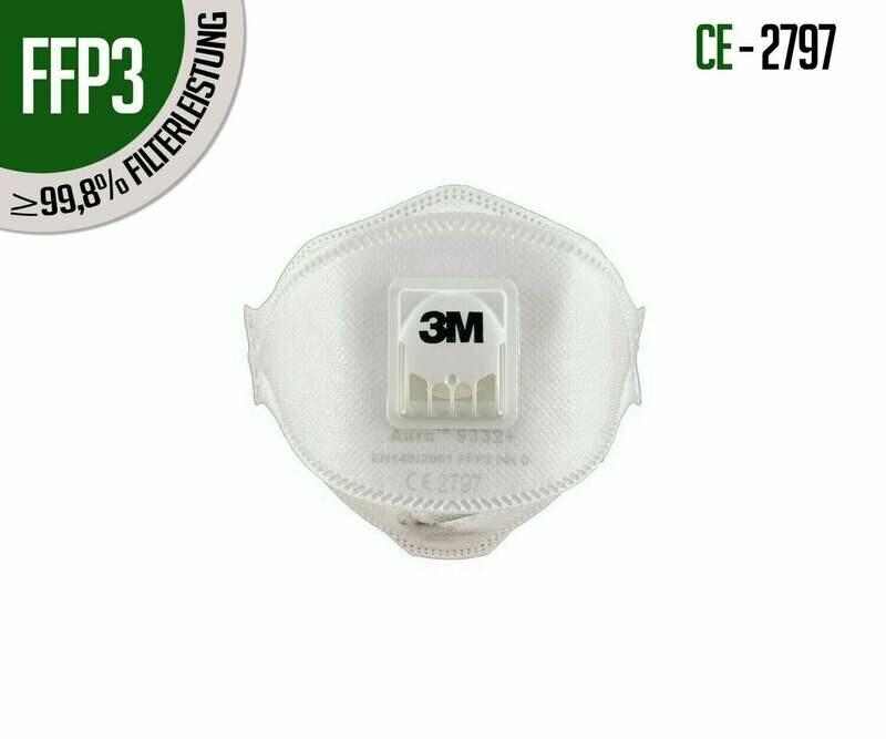 Atemschutzmasken 3M FFP3 Aura 9332+ mit Ventil 10er Packung