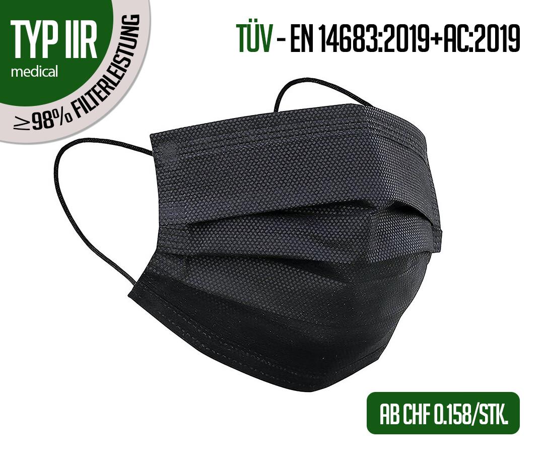 TYP IIR Atemschutzmasken schwarz 50er Packung