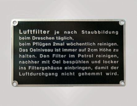 """Metallschild """"Luftfilter"""""""