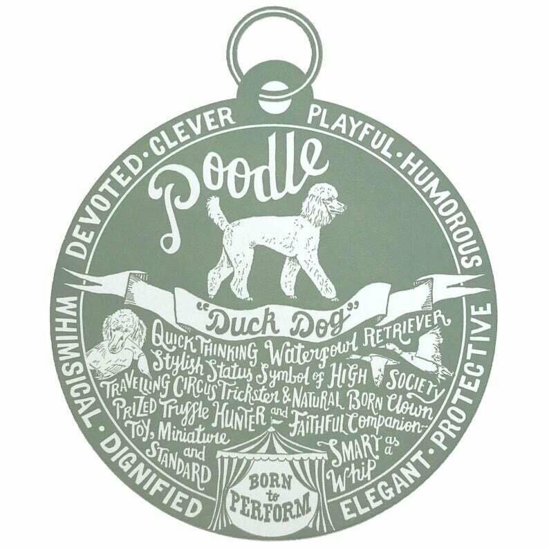 Debbie Kendall Poodle Dog Tag Print